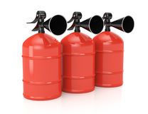 Row of fire extinguishers. On white background. 3d rendering image Royalty Free Stock Photo