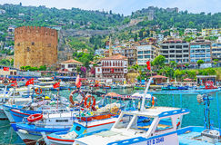 The row of fishing boats in Alanya Stock Photography