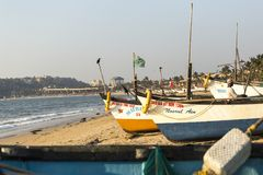 Row of fishing boats, India stock image