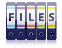 Row of five blue ring binders spelling Files Royalty Free Stock Photos