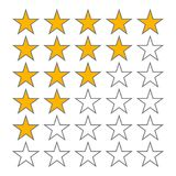 Row of five stars rate. 5 star rating vector icons isolated on white background. Star in row, review and ranking illustration royalty free illustration