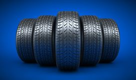 Row five tyre car Stock Images
