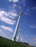 Row of five wind turbines Stock Image