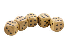 Row of Five Wooden Dice Showing Sixes Royalty Free Stock Images