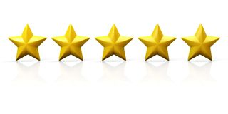 Row of five yellow stars on glossy plane Royalty Free Stock Images