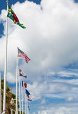 Row of Flags in Marigot St Martin Royalty Free Stock Image