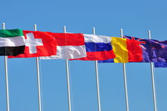 Row of flags of various countries Stock Photo