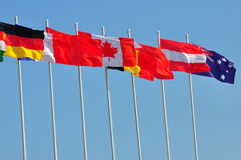 Row of flags of various countries Stock Photos