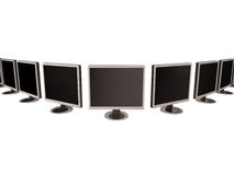 Row of flat screen monitors. Isolated on white Stock Photography