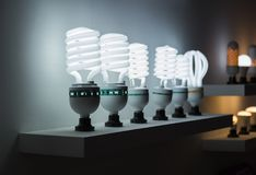 Row of flourescent lamps. White light Stock Photography