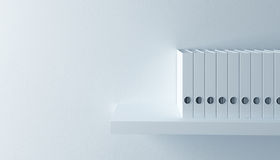 Row of folders. On bookshelf, 3d render Stock Photo