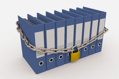 Row of folders closed by a chain and padlock Stock Photo