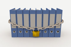 Row of folders closed by a chain and padlock Stock Photography