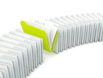 Row of folders with different green one Royalty Free Stock Photography
