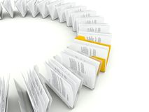 Row of folders with files Royalty Free Stock Image