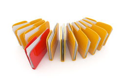 Row of folders and files. 3D illustration. On white background Stock Photography