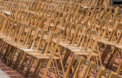 Row of folding chairs Stock Photo