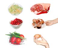 Row food natural products set Stock Photography