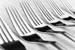 Row of forks Stock Photography