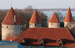 Row of fortress towers in old Tallinn Royalty Free Stock Photo