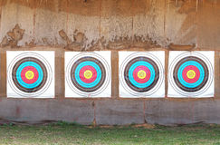 Row of four archery target rings Stock Photo
