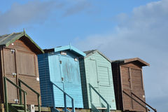 Row of Four Beach huts Royalty Free Stock Images