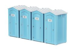 Portable plastic toilets. Row with four portable plastic toilets on white background Stock Images
