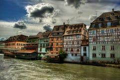 Row Of Frame Houses HDR. August 2013, frame houses in Strasbourg (France), high dynamic range Stock Image