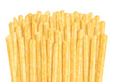 Row of french fries. On white background Royalty Free Stock Photography