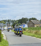Row of French Policemen on Bikes - Tour de France 2016. Ardevon, France - July 2, 2016: Row of bikes of French Gendarmerie driving to the start of the Tour de Stock Photos