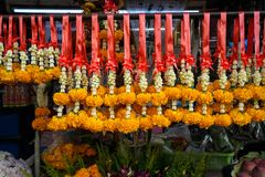 Row of fresh Thai style flower garlands made of white jasmine and crown flower and yellow marigold with red decorative ribbon. In local morning market, Thailand Royalty Free Stock Photography