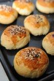 Row of freshly baked bread bun Royalty Free Stock Image