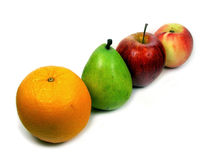 A row of fruits. Orange, pear, apple and peach Stock Photo