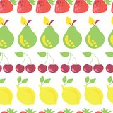 Row of fruits vector seamless pattern white vector illustration