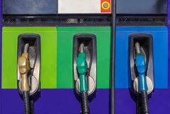 Row of fuel nozzles pump for car. At gas service station Royalty Free Stock Image