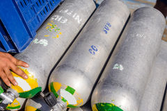 Row of full oxygen tanks for scuba diving Stock Images