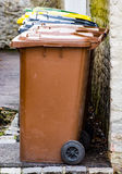 Row of garbage cans for waste separation. Row of garbage cans for wate separation and recycling Royalty Free Stock Images
