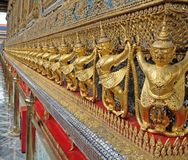 Row of Garuda as a Wall of Grand Temple of Thailand Stock Images