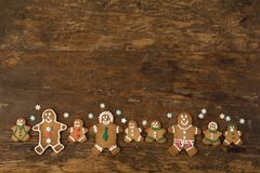 Row of gingerbread cookies royalty free stock photo