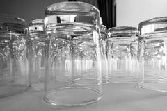 Row of Glass for Business Seminar. Black and white Stock Image