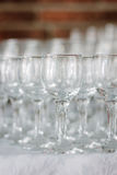 Row of glass on catering event on table. royalty free stock photography