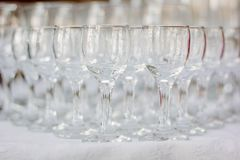 Row of glass on catering event on table. royalty free stock photo