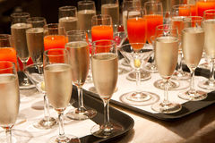 Row of glasses filled with champagne Royalty Free Stock Images