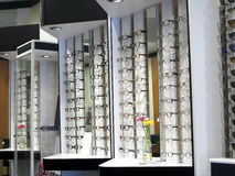 Row of glasses at an opticians Royalty Free Stock Images