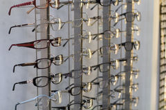 Row of glasses at an opticians Stock Image