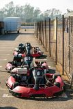 Row of Go-carts for professional or amateur racing royalty free stock photography