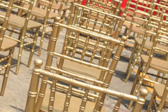 Row of gold color chair Royalty Free Stock Photo