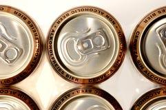 Row golden aluminum non alcoho. Lic beer cans Stock Image