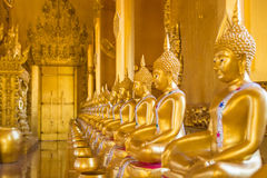 A row of golden buddha statue. Stock Images
