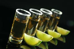 Row of golden tequila shots with juicy lime wedges. And salt on black background Stock Image